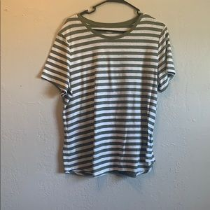 Olive and cream stripped shirt